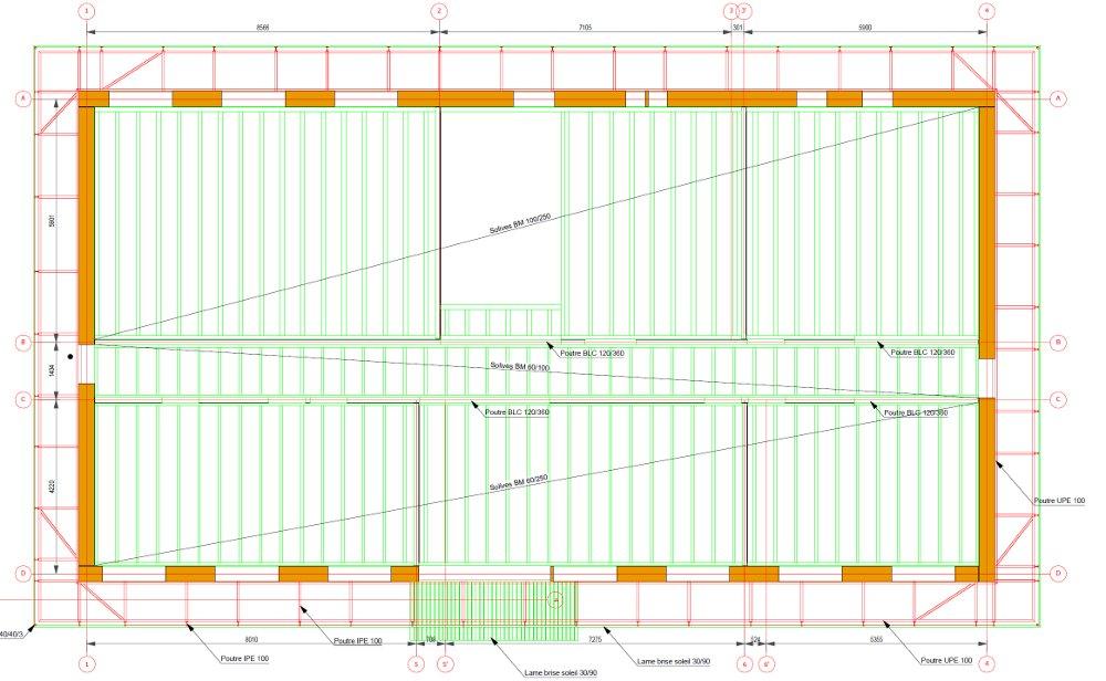 Plan structure plancher intermédiaire